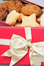 Freshly baked cookies in the holiday box code up Royalty Free Stock Images