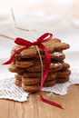 Freshly baked cookies on wooden table Stock Image