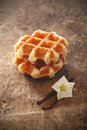 Freshly baked crisp golden waffles Royalty Free Stock Image
