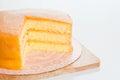 Freshly baked homemade orange cake on table Stock Photo