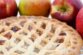 Freshly baked lattice apple pie Royalty Free Stock Images