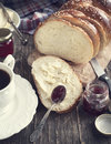 Freshly baked sweet braided bread loaf. Toned image Royalty Free Stock Photos