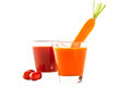 Freshly blended tomato and carrot juice Stock Images