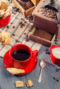 Freshly brewed coffee served with cookie Royalty Free Stock Photos