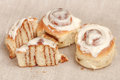 Freshly cinnabon French bun with cinnamon and cream, selective focus Royalty Free Stock Photo