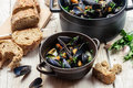 Freshly cooked mussels was served at dinner Stock Photo