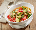 Freshly cooked spicy chicken soup and vegetables Royalty Free Stock Images