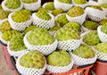 Freshly harvested custard sugar apples market taiwan Stock Image