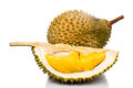 Freshly harvested durian fruit with aromatic and delicious golden yellow soft flesh Stock Photo