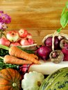 Freshly picked harvest of different autumn vegetables and fruit Royalty Free Stock Photo