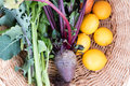 Freshly picked homegrown veggies from above high angle view of greens beetroot lemons and carrots in wicker basket ready for Stock Photos