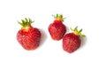 Three Fresh Strawberry isolated on white background. Royalty Free Stock Photo