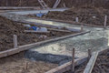 Freshly poured concrete slab foundations selective focus Stock Images