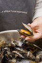 Freshly prepared black mussels Stock Images