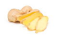 Freshly sliced root ginger isolated on white background Royalty Free Stock Photo