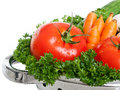 Freshly washed tomatoes in strainer Stock Image