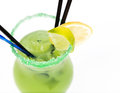 freshness cocktail with ice in glass with drinking straw Royalty Free Stock Photo