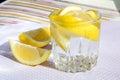 Freshness concept, homemade lemonade Summer detox drink with lemon in glass jars. Fresh water, refreshment drink Royalty Free Stock Photo