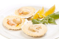 Freshness scallop with lemon Stock Photo