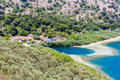 Freshwater lake in village kavros in crete island greece magical turquoise waters lagoons travel background Stock Photos