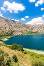 Freshwater lake in village kavros in crete island greece magical turquoise waters lagoons travel background Stock Image