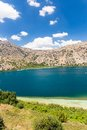 Freshwater lake in village kavros in crete island greece magical turquoise waters lagoons travel background Royalty Free Stock Photo