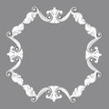 Fretwork d frame the sculptural form on a gray background Royalty Free Stock Photo