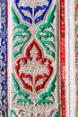 The fretwork on ganch in interior bukhara uzbekistan april close up of tracery painted different colors of sitorai mokhi Royalty Free Stock Photos