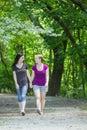 Freundinnen die einen spaziergang durch den park vertikal machen Lizenzfreies Stockbild