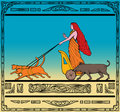 Freya Norse goddess chariot cat Stock Photos