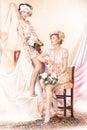 Förfining gammalmodigt begrepp två klämmer fast upp flickor i retro klänningar lyx Arkivbild