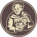 Friar Monk Cook Mixing Bowl Woodcut Royalty Free Stock Photography
