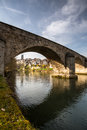 Fribourg switzerland stone bridge over the river Stock Images