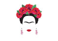 Frida Kahlo minimalist portrait with earrings hands Royalty Free Stock Photo