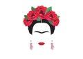 Frida Kahlo minimalist portrait with earrings hands