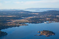 Friday Harbor Airport and Dinner Island Royalty Free Stock Photo