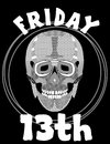 Friday th image with skull friday unlucky day illustration with skull skull drawing vector eps Royalty Free Stock Photography