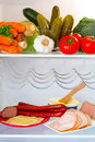 Fridge full healthy vegetables ham cheese Stock Photos