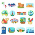 Fridge magnets flat vector illustration. Abroad, foreign countries traveling souvenirs. Famous European landmarks and Royalty Free Stock Photo