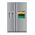 Fridge with TV Stock Image