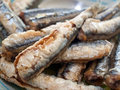 Fried anchovies on plate Royalty Free Stock Photography