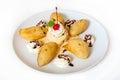 Fried banana with ice cream Royalty Free Stock Photo
