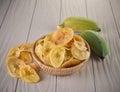 Fried banana slices isolated on white background Royalty Free Stock Photo