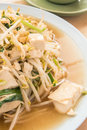 Fried bean sprouts mix tofu thai chinese food Royalty Free Stock Photos