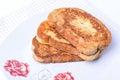 Fried bread slices. Bulgarian breakfast. Royalty Free Stock Photo