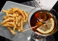 Fried calamari and red vermouth Royalty Free Stock Image