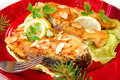 Fried carp with almonds for christmas Stock Photo