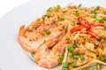 Fried char kway teow vi a plate of gravy and with prawns Royalty Free Stock Image