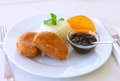 Fried cheese with rice and jam sauce Royalty Free Stock Photo