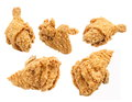 Fried chicken breast leg and wing isolated on white background Royalty Free Stock Photo